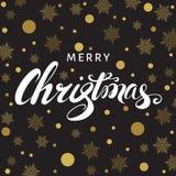 С Рождеством Христовым поздравительная открытка с литерностью и золотым снегом Стоковое Изображение RF