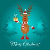 С Рождеством Христовым поздравительная открытка с милым северным оленем Стоковое Изображение RF