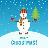 С Рождеством Христовым поздравительная открытка с снеговиком Стоковое Фото
