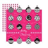 С Рождеством Христовым поздравительная открытка с шариками и рукописными словами иллюстрация штока