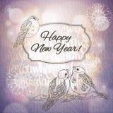 С Рождеством Христовым поздравительная открытка с bullfinches Стоковое Изображение