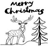 С Рождеством Христовым поздравительная открытка чернил оленей Стоковое фото RF