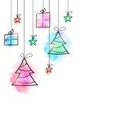 С Рождеством Христовым праздничная предпосылка с подарками иллюстрация вектора