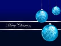 С Рождеством Христовым предпосылка с голубыми безделушками Иллюстрация вектора