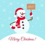 С Рождеством Христовым предпосылка с снеговиком шаржа Стоковые Изображения RF