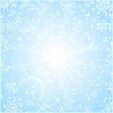 С Рождеством Христовым предпосылка с снежинками солнца иллюстрация вектора