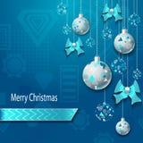 С Рождеством Христовым предпосылка с шариками и смычками рождества в серебряной сини иллюстрация вектора