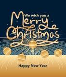 С Рождеством Христовым принесите Новый Год фейерверка Стоковые Фото