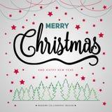 С Рождеством Христовым плакат подарка Литерность золота рождества блестящая стоковое фото