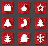 С Рождеством Христовым плоские бумажные значки с тенями. бесплатная иллюстрация