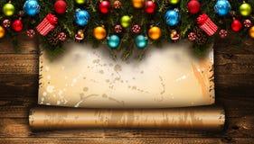 С Рождеством Христовым рамка с реальной деревянной зеленой сосной, красочными безделушками, boxe подарка и другим сезонным вещест Стоковые Фотографии RF