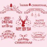 С Рождеством Христовым рамки границы, знамя, олень рождества, элементы шрифта рождества Стоковые Фотографии RF