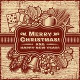 С Рождеством Христовым ретро карточка Брайн иллюстрация штока