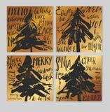 С Рождеством Христовым ретро комплект шаблона карточки boho битника с винтажными элементами стиля hippie и ультрамодный праздник  иллюстрация вектора