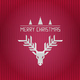 С Рождеством Христовым рожок северного оленя и иллюстрация нашивок Стоковое фото RF