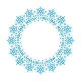 С Рождеством Христовым рождественская открытка, голубые снежинки в круге бесплатная иллюстрация