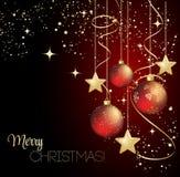 С Рождеством Христовым рождественская открытка с красной безделушкой Стоковые Фото