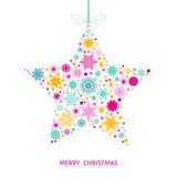 С Рождеством Христовым рождественская открытка с красочной звездой с снежинками Стоковое Фото