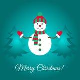 С Рождеством Христовым рождественская открытка с милым снеговиком и спрусами Стоковая Фотография RF
