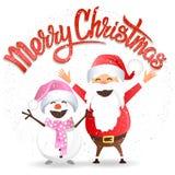 С Рождеством Христовым, Санта и снеговик Иллюстрация штока