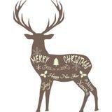 С Рождеством Христовым северный олень, силуэт северного оленя, изолированный северный олень Брайна Стоковая Фотография RF