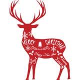 С Рождеством Христовым северный олень, силуэт северного оленя, красный северный олень Стоковое фото RF