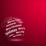 С Рождеством Христовым сияющий красный шарик Стоковая Фотография RF