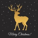 С Рождеством Христовым силуэт и снежинки оленей золота Стоковые Фото