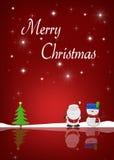 С Рождеством Христовым снеговик и Санта Стоковые Фото