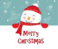 С Рождеством Христовым, снеговик Стоковые Изображения