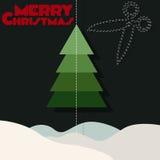 С Рождеством Христовым, снег, дерево Стоковое Изображение