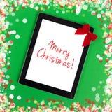 С Рождеством Христовым сообщение на планшете Стоковая Фотография RF