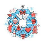 С Рождеством Христовым состав венка поздравительной открытки иллюстрация вектора