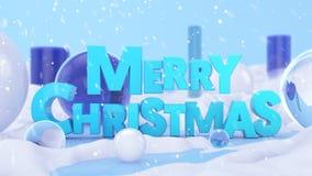 С Рождеством Христовым сцена ландшафта 3D зимы Стоковое Изображение RF