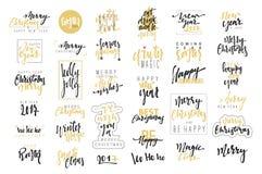 С Рождеством Христовым, счастливые установленные эмблемы каллиграфии Нового Года 2017 роскошные Стоковые Изображения