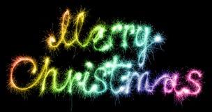 С Рождеством Христовым сделанное sparkles на черноте Стоковая Фотография RF