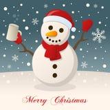 С Рождеством Христовым с пьяным снеговиком бесплатная иллюстрация