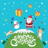 С Рождеством Христовым с Санта Клаусом, котом северного оленя и снеговиком бесплатная иллюстрация