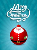 С Рождеством Христовым текст литерности с illus вектора игрушки Санта Клауса иллюстрация вектора