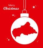 С Рождеством Христовым тема с картой центрально-африканского r иллюстрация вектора
