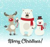 С Рождеством Христовым! Товарищи счастливого рождеств Бесплатная Иллюстрация
