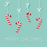 С Рождеством Христовым тросточка конфеты смертной казни через повешение Штриховой пунктир с смычком Плоский дизайн background car Стоковое Изображение