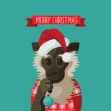 С Рождеством Христовым усмехаясь обезьяна шаржа иллюстрация вектора