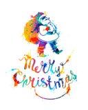 С Рождеством Христовым чешет с Santa Claus иллюстрация штока
