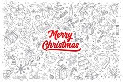 С Рождеством Христовым doodle установленный с литерностью Стоковое Фото