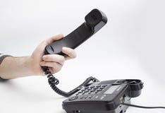 С рукой телефонной трубки Стоковое Изображение RF