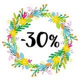 30% с скидки сбывание Флористический венок вектора иллюстрация вектора