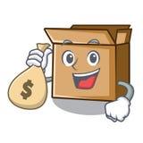 С сумкой денег картон помещен над таблицей мультфильма иллюстрация штока