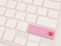 С текстом влюбленности, сердце на клавише переключения регистра Стоковое Изображение RF