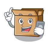 С телефоном картон помещен над таблицей мультфильма иллюстрация штока